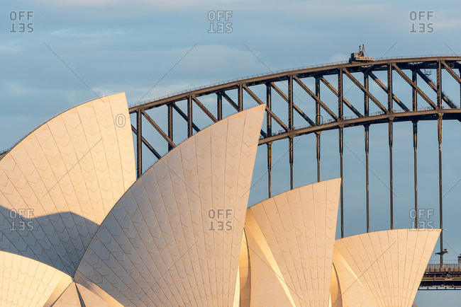 July 28, 2018:Detail of the Opera House and Harbour Bridge, Sydney, New South Wales, Australia