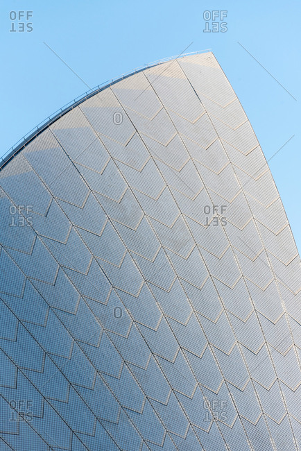 July 28, 2018: Detail of Sydney Opera House's roof, Sydney, New South Wales, Australia