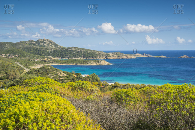 Italy, Sardinia, Teulada. Landscape around Capo Malfatano, in the south of Sardinia, the most spectacular beach of the area is Tuerredda Beach, a white sand bay with clean water and several small islands around