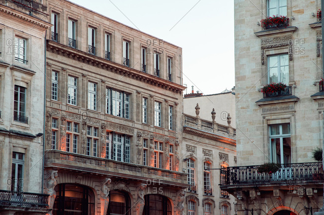 Evening cityscape in Bordeaux with classical french architecture