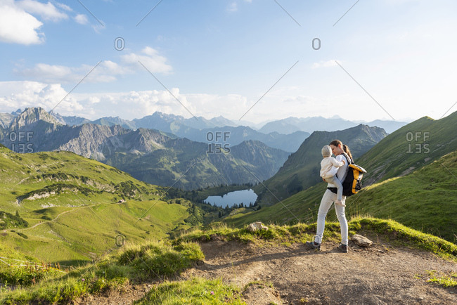 Germany- Bavaria- Oberstdorf- mother and little daughter on a hike in the mountains