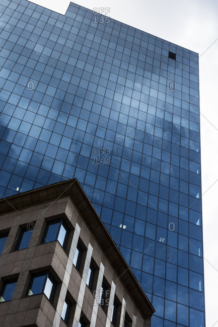 Poland- Warsaw- part of facade of modern office building