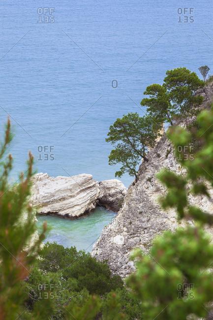 Italy- Puglia- Vieste- rocks in Adriatic Sea