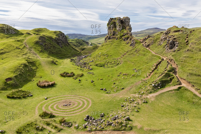 UK- Scotland- Inner Hebrides- Isle of Skye- Trotternish- Balnacnoc- Fairy Glen and Castle Ewen