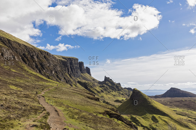 UK- Scotland- Inner Hebrides- Isle of Skye- Trotternish- Quiraing- hiking trail