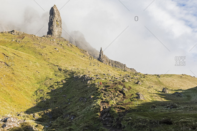 UK- Scotland- Inner Hebrides- Isle of Skye- Trotternish- clouds around The Storr