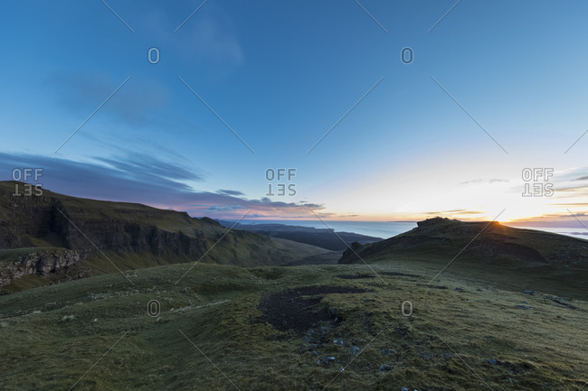 UK- Scotland- Inner Hebrides- Isle of Skye- Trotternish- sunset at observation point at The Storr