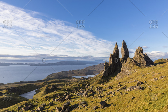 UK- Scotland- Inner Hebrides- Isle of Skye- Trotternish- morning mood at Loch Leathan and The Storr