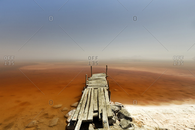 Iran- West Azerbaijan- Urmia- Urmia Salt Lake- wooden pier