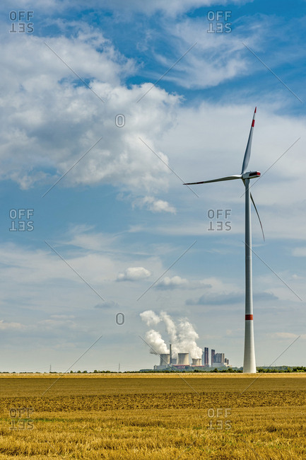 Germany- Grevenbroich- Neurath power station and wind turbine