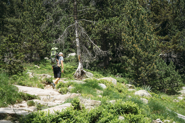 Spain- Father hiking in the mountains with little daughter- sitting in carrying frame