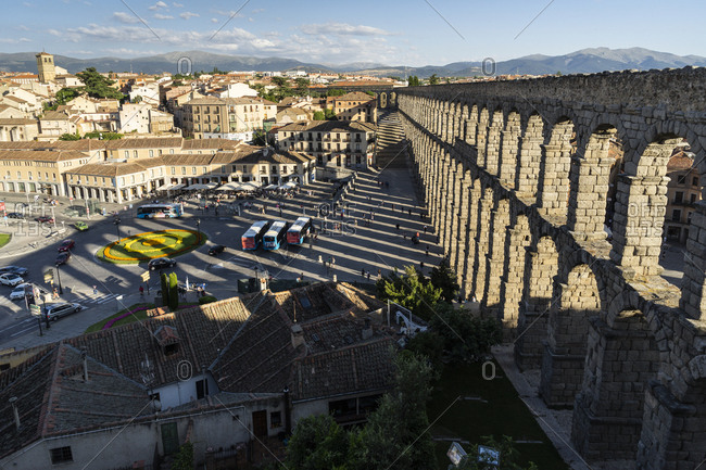 August 9, 2018: Spain- Castile and Leon- Segovia- Aqueduct and shadow