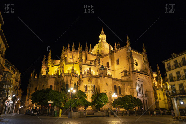 August 9, 2018: Spain- Castile and Leon- Segovia- Cathedral at night- seen from Plaza Major