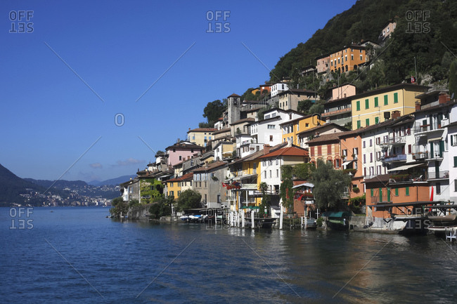 August 15, 2018: Switzerland- Lugano- Gandria- view to houses at Lake Lugano