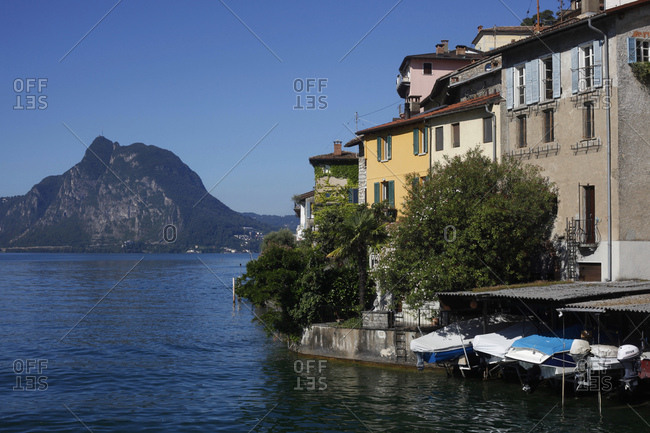 Switzerland- Lugano- Gandria- view to houses at Lake Lugano