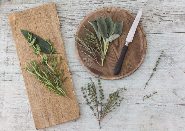 Fresh Provencal herbs- knife and   wooden boards