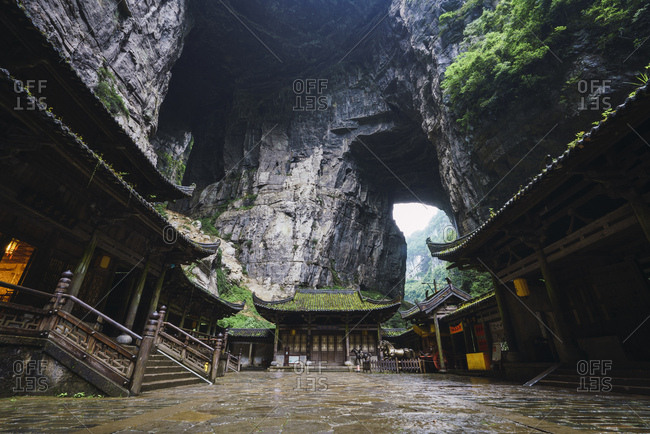July 1, 2018: China- Sichuan Province- Wulong Karst- traditional houses- entrance
