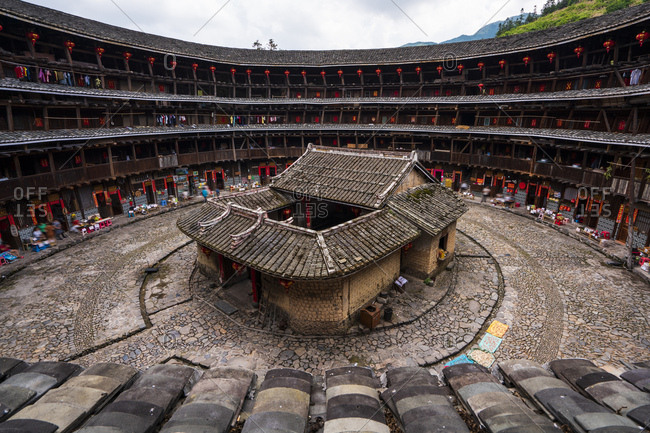 July 4, 2018: China- Fujian Province- inner courtyard of a tulou in a Hakka village