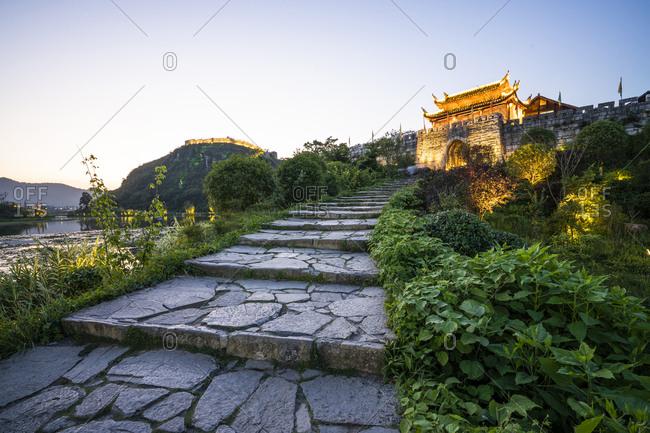 China- Qinyang- Ancient town at blue hour
