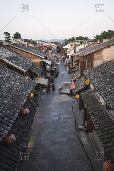 July 8, 2018: China- Qinyang- Ancient Town- alley and houses