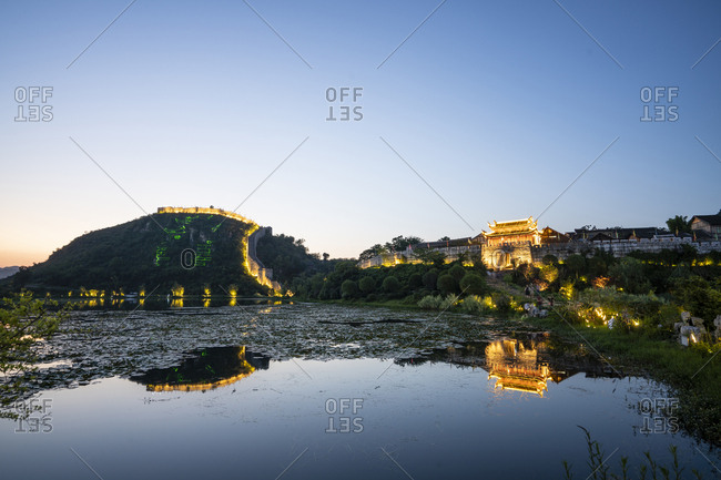 China- Qinyang- Ancient town at blue hour