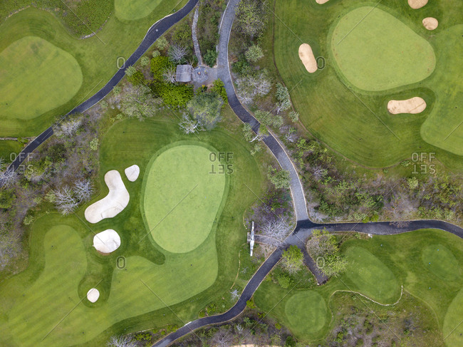 Indonesia- Bali- Aerial view of golf course