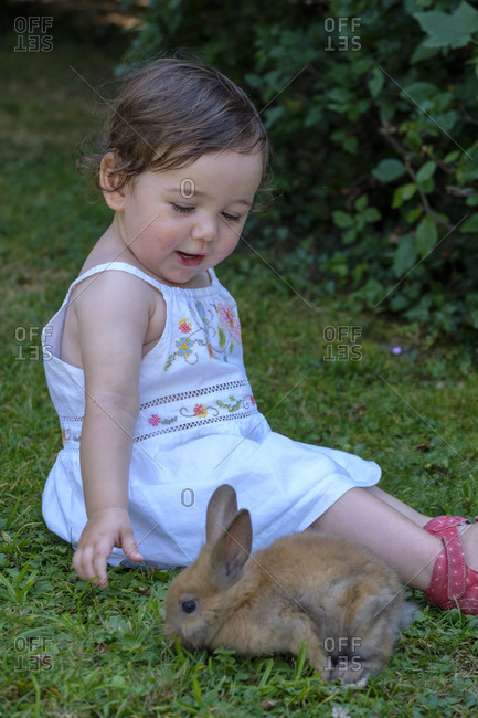 Portrait of content baby girl playing with young rabbit on a meadow