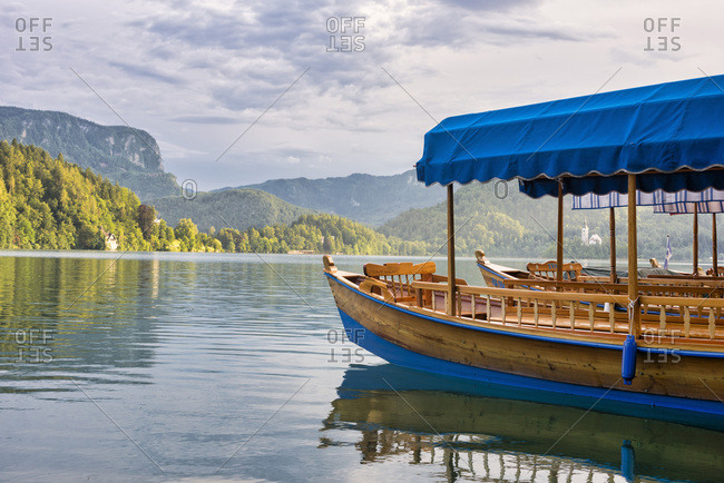 Slovenia- Bled-  Boats on lake Bled