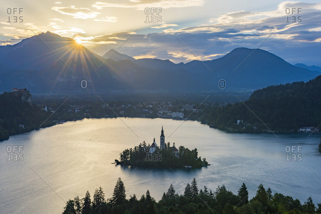 Slovenia- Bled-  Bled island and Church of the Assumption of Maria at sunrise