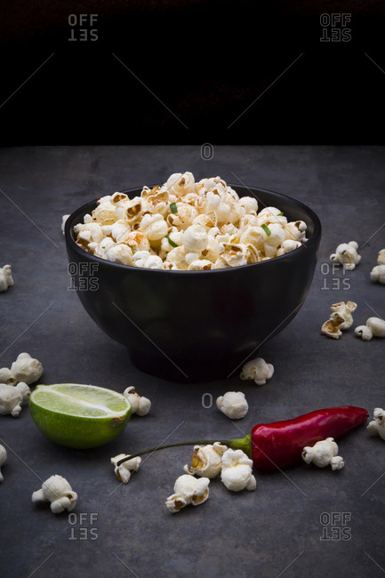 Bowl with popcorn flavored with chili and lime