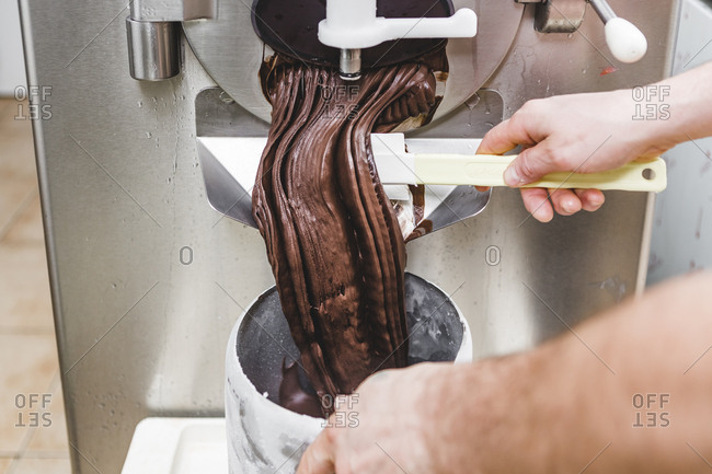Making ice cream at an ice cream parlor