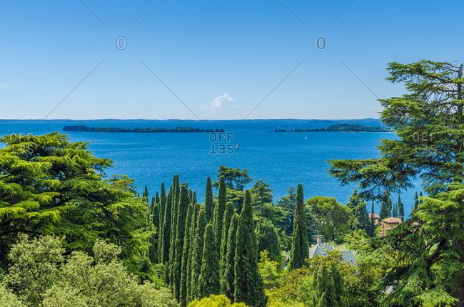 Italy- Lombardy- Gardone Riviera- Lake Garda- view to Isola del Garda