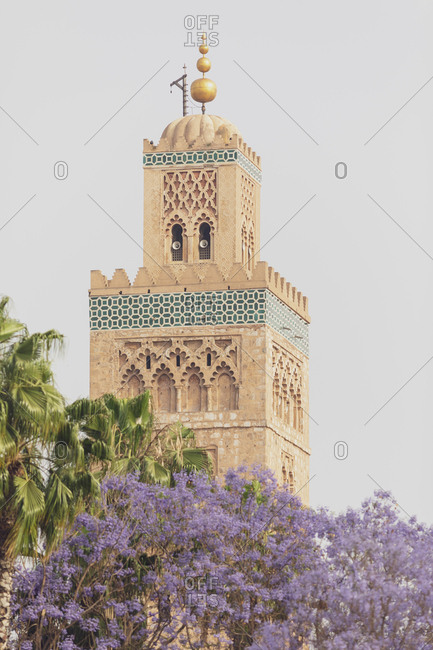 Morocco- Marrakesh- view to minaret of Koutoubia mosque