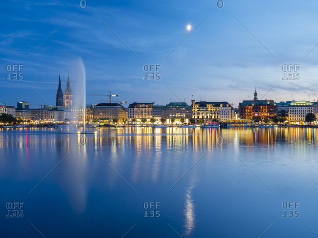 August 27, 2017: Germany- Hamburg- Inner Alster with Alster fountain in the evening