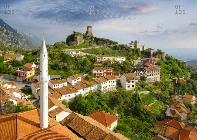 Albania- Kruje- townscape with bazaar street- Bazaar Mosque- Skanderbeg Museum and fortress