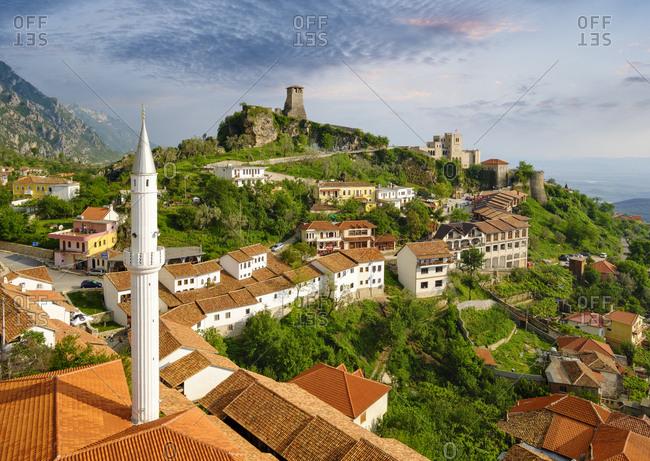 Albania- Kruje- townscape with bazaar street- Bazaar Mosque- Skanderbeg Museum and fortress