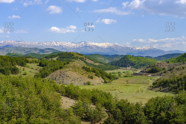 Albania- Qark Korca- Pindos mountains in the background