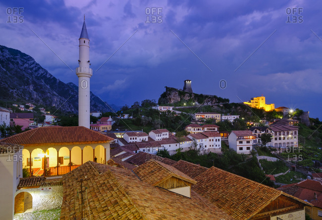 Albania- Kruje- townscape with bazaar street- Bazaar Mosque- Skanderbeg Museum and fortress in the evening