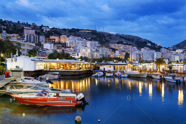 April 29, 2018: Albania- Vlore County- Saranda- Fishing harbor in the evening