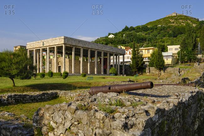 Albania- Lezhe- Skanderbeg Mausoleum and ruins of ancient Lissos