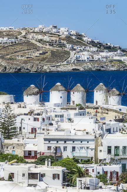 Greece- Mykonos- townscape with five historical windmills