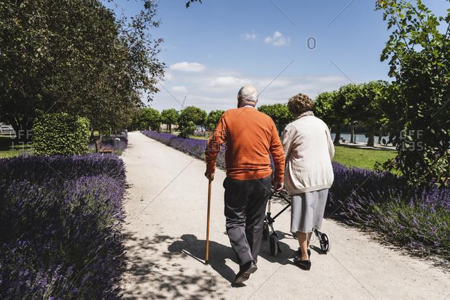 Senior couple walking in park- woman using wheeled walker