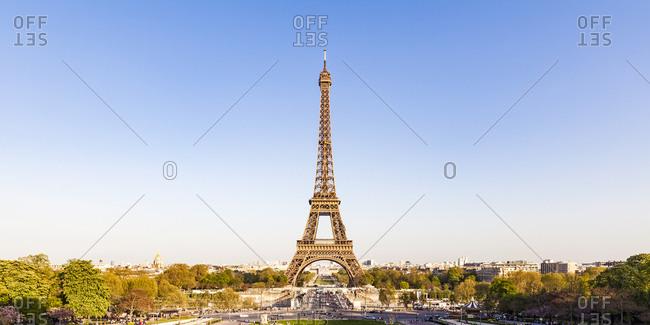 France- Paris- Panoramic view- Place de Varsovie and Eiffel Tower
