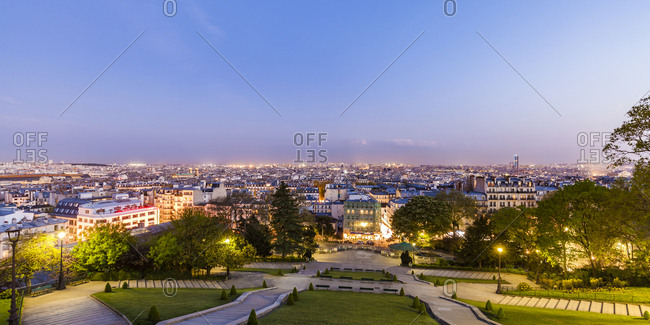 France- Paris- Panoramic cityscape from Montmartre at blue hour