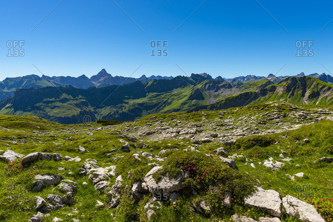 Germany- Bavaria- Koblat at Nebelhorn with Hochvogel Mountain in background