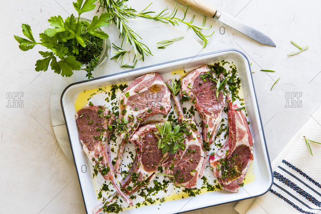 Raw lamb chops being seasoned with mint and parsley