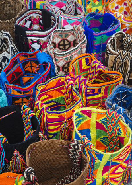Colorful bags at the Sunday Flea Market in Usaquen, Bogota, Colombia.