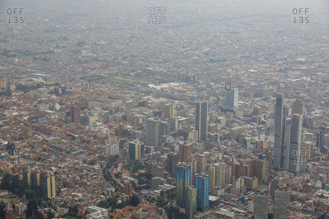 View of the city from the top of Cerro de Monserrate, Bogota, Colombia.