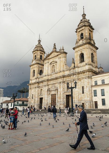 February 13, 2018: Cathedral Primada de Colombia, Plaza de Bolivar, Bogota, Colombia.