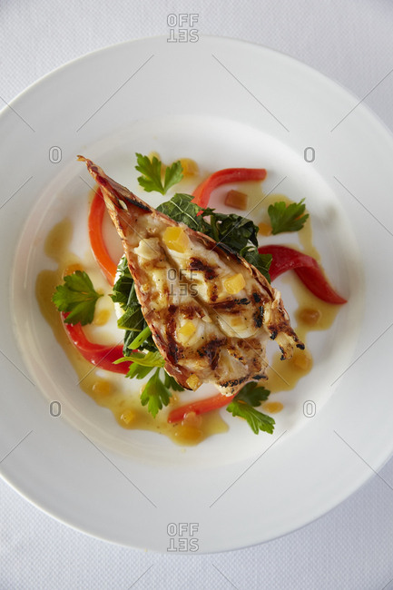 Lobster dish with red peppers